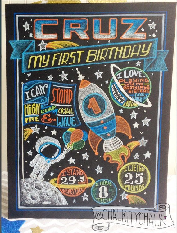 Space Birthday Chalkboard- rocket ship first birthday chalkboard- astronaut 1st…
