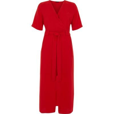 River Island Womens Red Wrap Short Sleeve Midi Dress