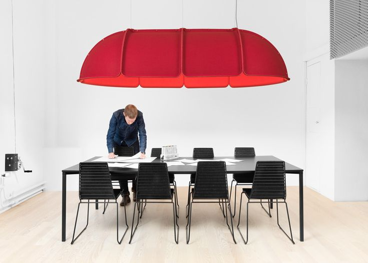 Hood modular lamp shades by Form Us With Love for Ateljé Lyktan - these large, modular, compressed-felt lamp shades by Stockholm studio Form Us With Love are designed to create a cosy environment around a table