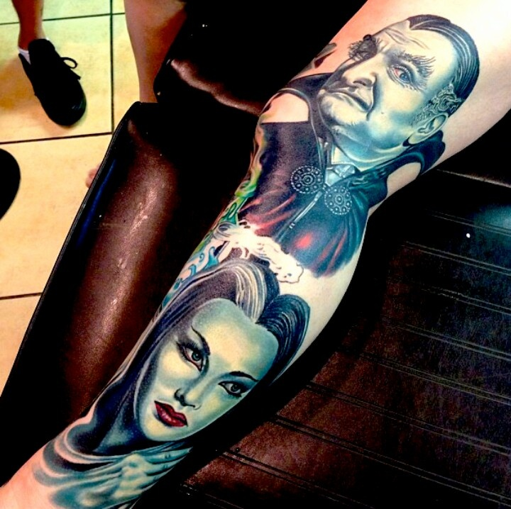 The Munsters - Grandpa & Lily Munster leg portrait tattoos.