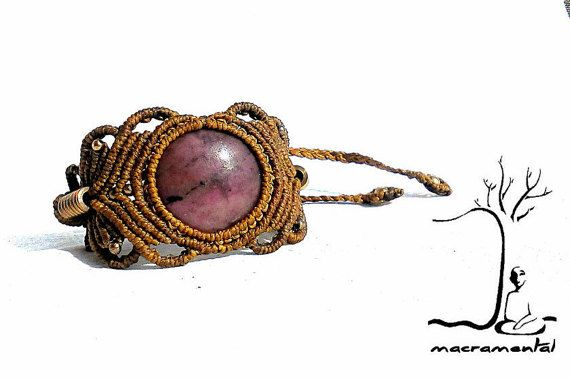 Gypsy macrame bracelet, macrame gemstone bracelet, tribal macrame bracelet Rhodonite macrame bracelet, tribal macrame  gift for gypsy