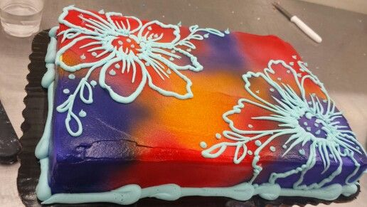 Airbrush and flowers sheet cake. Painting inspired.