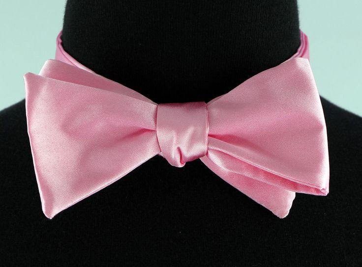 Mens Self Loop Poly Satin Bow Tie Wedding Prom Fashion Pink Dress Bowtie New…