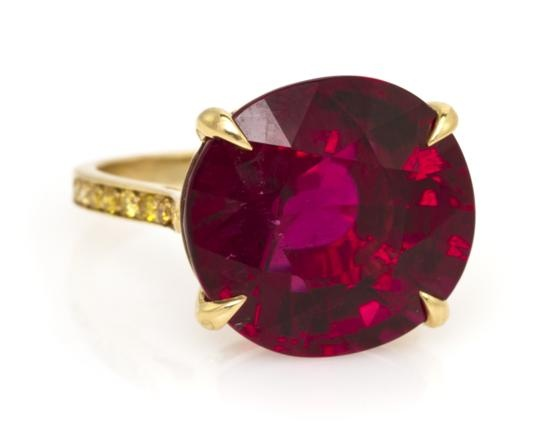 An 18 Karat Yellow Gold, Rubellite and Yellow Diamond Ring,   Paolo Costagli