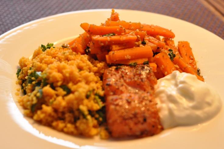Stremel salmon, carots x coriander/cumin/sesame, couscous x saffron/parsley, turkish yoghurt