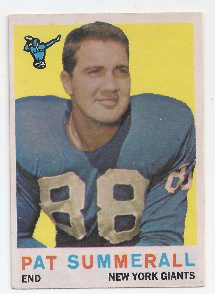1959 Pat Summerall Football Card NFL Hall of Fame Broadcaster #NewYorkGiants