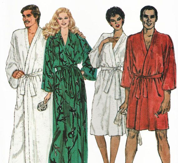 mens and misses his hers unisex matching long or short kimono bath robes sewing pattern vogue. Black Bedroom Furniture Sets. Home Design Ideas