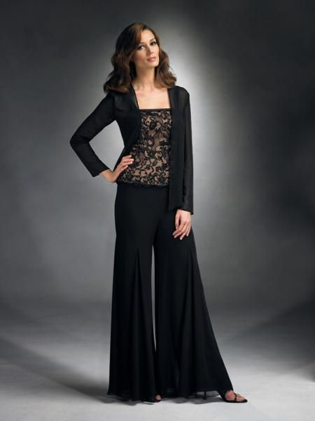 Unique  Evening Wide Leg Pants Beaded Top Woman Dresses Womens Dresses
