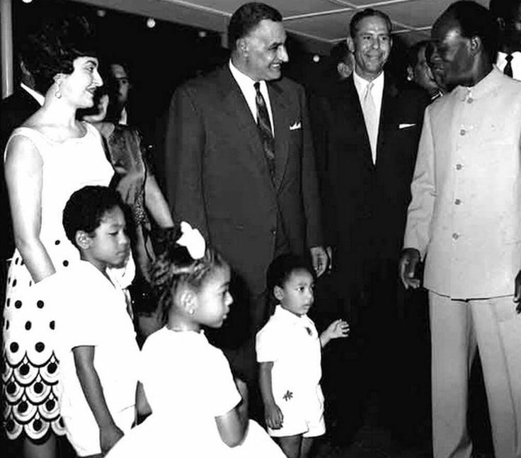 The late President of Ghana, Kwame Nkrumah  and his family meeting Egyptian President Gamal Abdel Nasser during the 1965 Organisation of African Unity Summit in Accra.