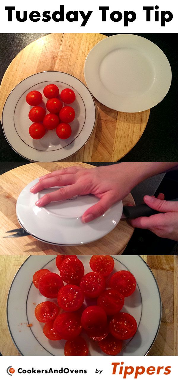 Here's a great Tuesday Top Tip for when you need to cut lots of tomatoes in half for a sauce.   Pop all the tomatoes on one plate and pop another plate over the top. Whilst keeping the tomatoes in place with the top plate, glide the knife through the gap in the plates and voilà!