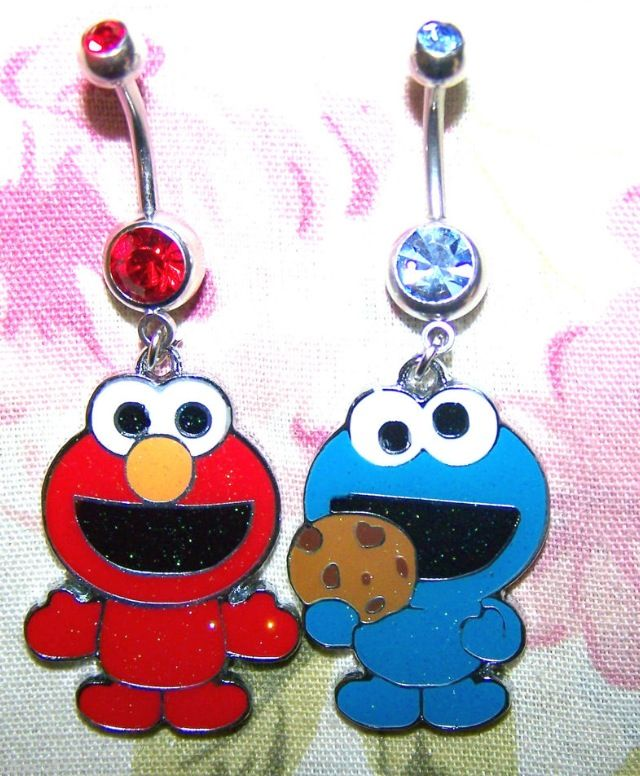 this is adorable ! cookie monster & elmo matching belly button rings