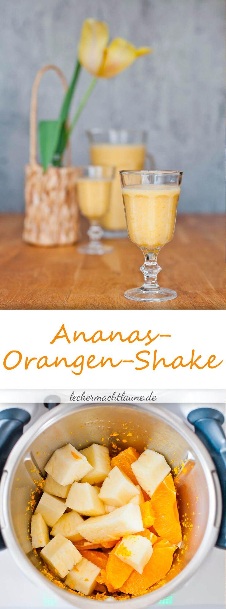 Wunderbar lecker, erfrischend und gerade richtig bei warmem Wetter: Ananas-Orangen-Shake. Einfach herzustellen entweder mit oder ohne Thermomix®.