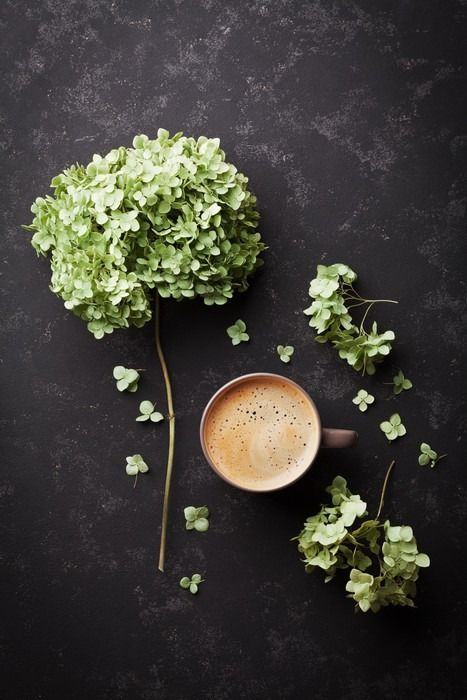 Composition with cup of coffee and dried flowers hydrangea on black vintage table from above, flat lay Wall Mural - Vinyl - Drinks
