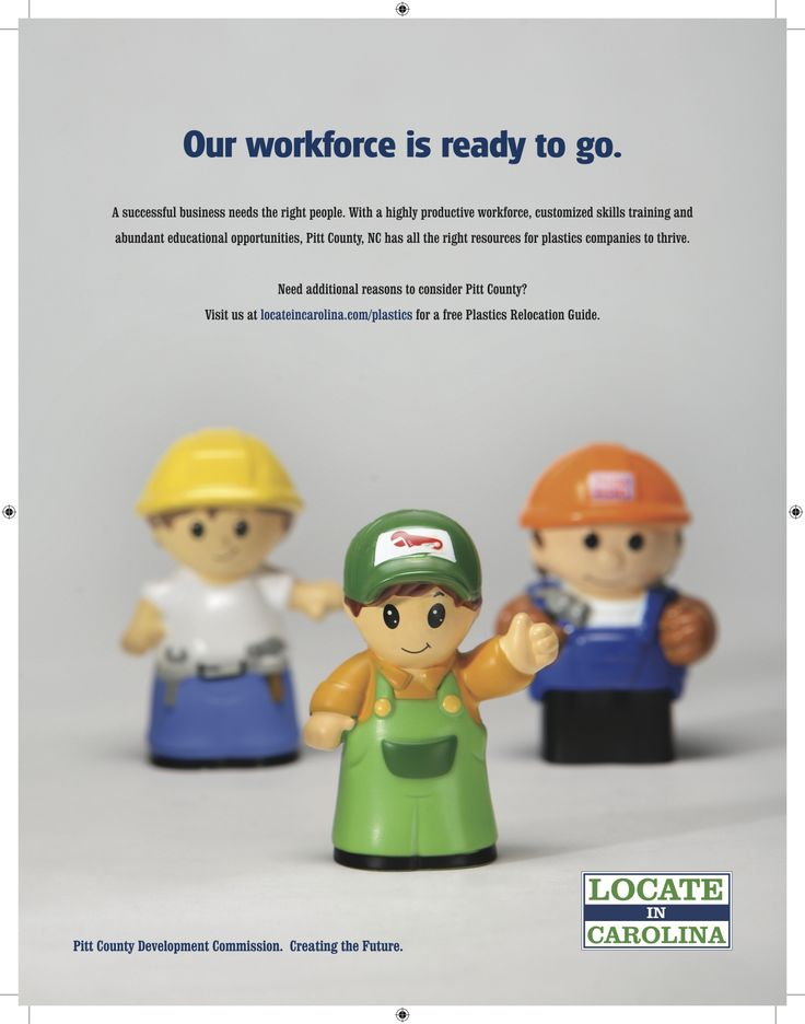 Part of a plastics industry print ad campaign to follow up on Pitt County Development Commission's success in recruiting plastics companies to Pitt County. Our favorite part of creating this ad was the run to Toys-R-Us to buy the little men.