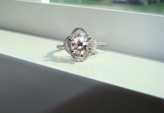 Halo morganita diamante anillo melocotón piedra preciosa anillo de compromiso personalizado redondo doble Halo ajuste 14K oro blanco tamaño