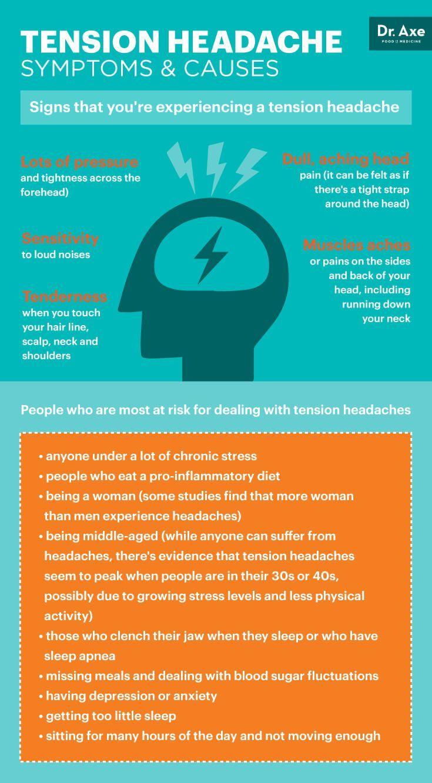 Tension headache symptoms and causes - Dr. Axe http://www.draxe.com #health #holistic #natural #headacherelief