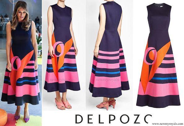 First lady Melania Trump wore a midi decoupage dress by Delpozo. for the Hamburg G20 economic summit in Hamburg, Germany