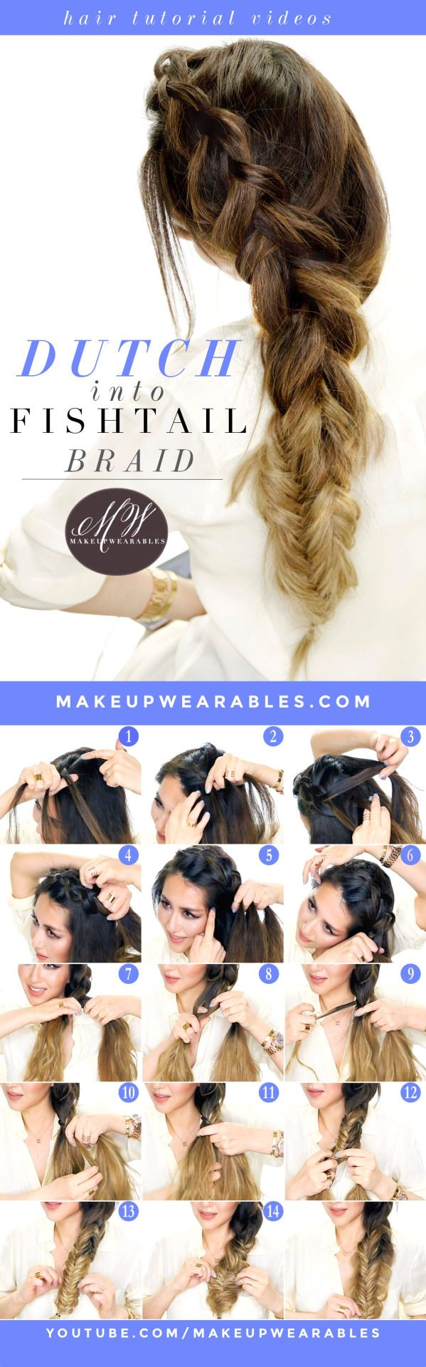 (via How to : Big Messy Braid Tutorial | Dutch into Fishtail Braids) More quick and easy hair tutorials .