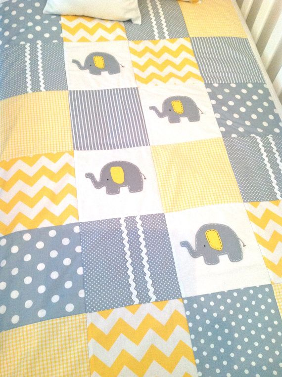 Elephant Baby Crib Quilt and Pillow in Yellow and Gray