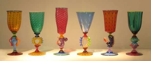 Robert Dane - Tutti Frutti goblets, blown glass
