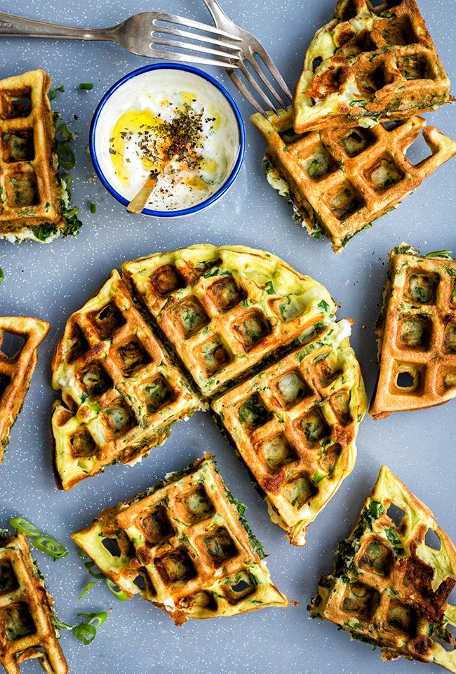 Greek Spinach, Feta and Potato Waffle Frittata with Tzatziki Sauce | Supergolden Bakes