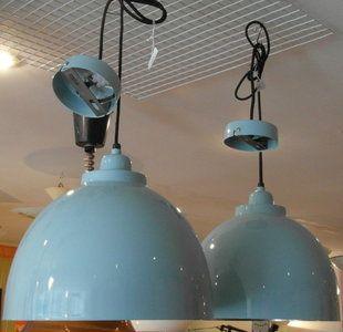 retro blauwe lampen