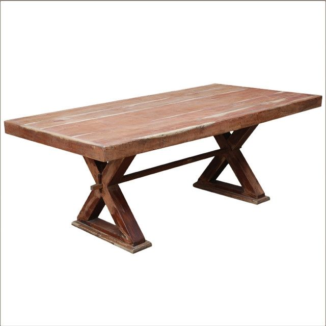 Rustic Solid Wood Double X Pedestal Rectangular Dining Room Table with Solid Wood Pedestal Table