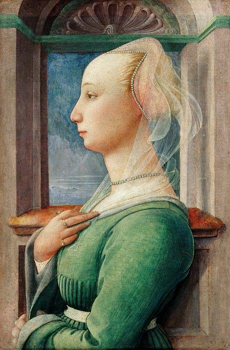 Липпи, Фра Филиппо (c.1406-1469) - Портрет молодой женщины в профиль.