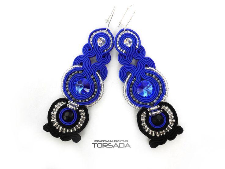 Szafirowe kolczyki sutasz z kryształami by BIŻUTERIA TORSADA/ Soutache earrings navy blue with crystals