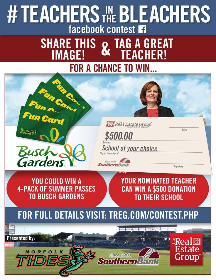 """TREG & Southern Bank have teamed together to present """"Teachers in the Bleachers"""" Ticket and School Donation Contest!  Help us fill Harbor Park with Hampton Roads Educators at Teacher Appreciation Night on June 3, 17. In addition, you could win a 4-pack of Fun Cards to Busch Gardens Williamsburg!   https://www.facebook.com/REALESTATEGRP/photos/a.136920493024621.24189.114623618587642/1331658023550856/?type=3&theater"""