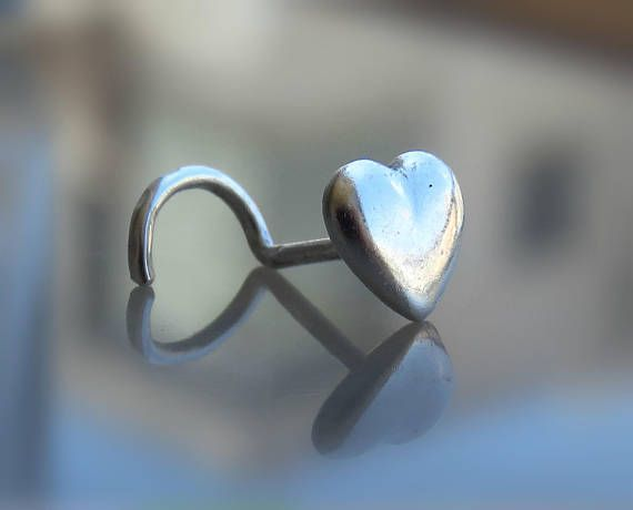 Heart Nose Stud  Heart Nose Ring  Sterling Silver Nose Stud