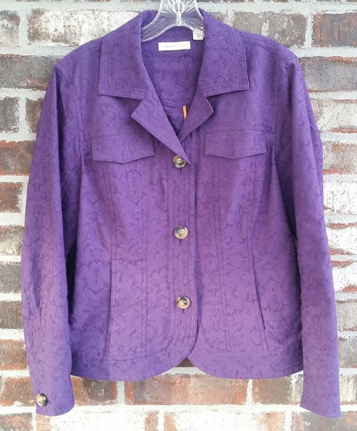 Coldwater Creek Purple Jacket Blazer Size 14 Embroidered Floral Cotton Blend #ColdwaterCreek #Blazer #CareerOfficeWorkWeekendCasualFun