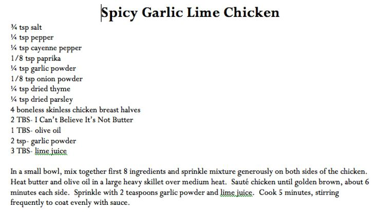 Spicy Garlic Lime Chicken | healthy eating | Pinterest | Lime chicken ...