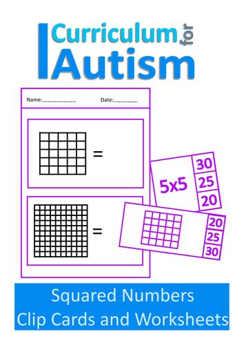 Squared Numbers Clip Cards and Worksheets, Autism and Special Education