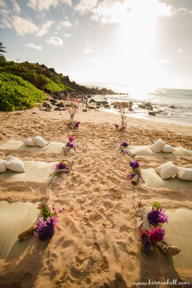 beautiful beach wedding decorations, guest beach mats and pillows | Maui Weddings by Simple Maui Wedding