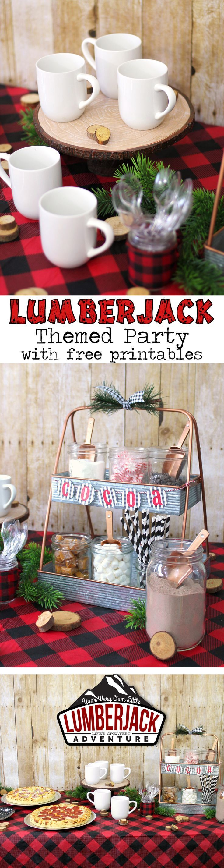 Lumber jack pizza and hot cocoa party table full of easy and cute ideas and free printables. A fun party theme for a baby shower, birthday party or girls night in.