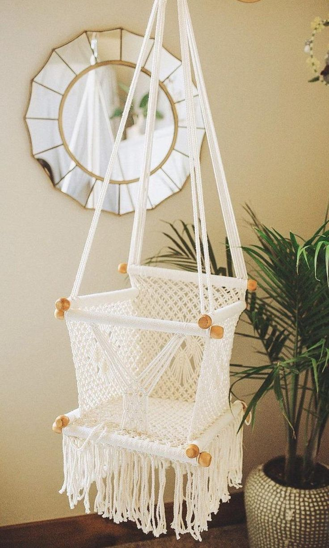 Macrame baby swing Baby hammock, Swinging chair