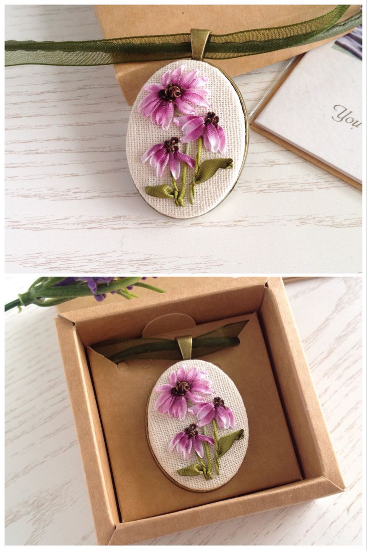 Oval purple wildflowers pendant for woman embroidered with silk ribbons