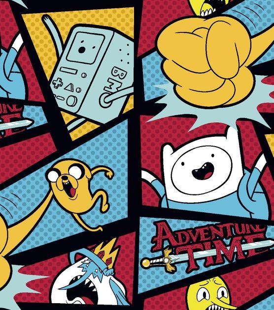 "Cartoon Network Adventure Time Fleece Fabric 59""-Adventure Time With Dots"