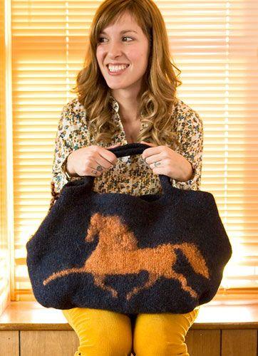 Hippodrome ~ knitted & felted handbag: free pattern