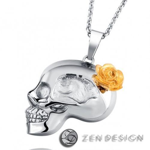 """Tøft hodeskallesmykke av en damehodeskalle med rose i """"håret"""". Materiale: 316 stål.  Kjede: Lengde:45cm (+5cm justebart) Tykkelse:2,5mm.  Anheng størrelse: 35 mm. #zendesign #hodeskalle #skull #smykke #halskjede #kjede #anheng"""