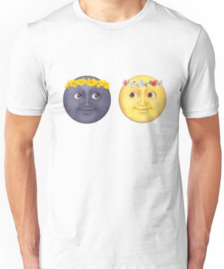 Moon and Sun Emoji Flower crown. Unisex T-Shirt