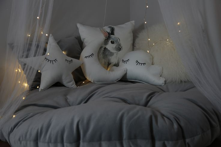 I am doing children happy corners, all pillows including the huge round one done by me. Eyelashes of star cloud and moon are embroidery. nursery canopy reading corner . picture taken by ilovefashion
