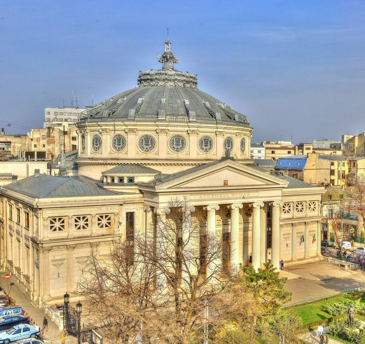 **French architects in Bucharest** Arch. Albert Galleron - Romanian Atheneum from Bucharest, Romania (1886-1888, combination of Neoclassic and Eclectic style)