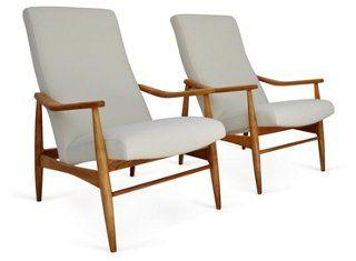 Milo Baughman Teak Recliners, Pair | Designer Exclusive | One Kings Lane