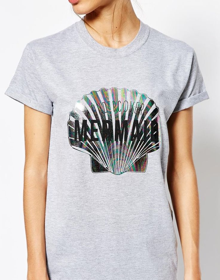 Adolescent Clothing Boyfriend T-Shirt With Undercover Mermaid Holographic Print ($33)