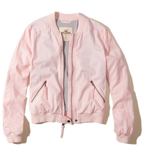 Hollister Twill Bomber Jacket ($50) ❤ liked on Polyvore featuring outerwear, jackets, light pink, light pink bomber jacket, lightweight jackets, bomber style jacket, hollister co jackets and flight bomber jacket