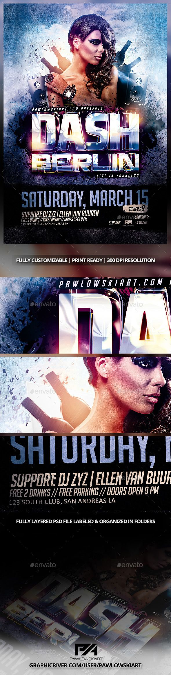 DJ Electro v2 Party Flyer PSD Template