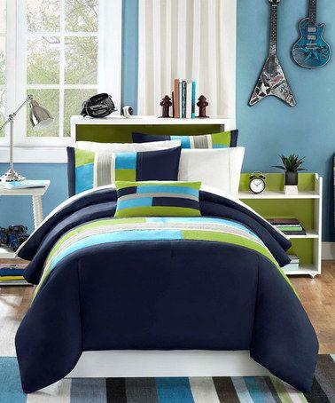 Another great find on #zulily! Navy & Green Comforter Set #zulilyfinds
