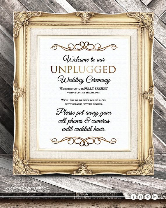 Unplugged Wedding Ceremony Sign  No cell by CupcakeGraphics1